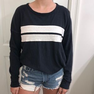 Navy with white stripes, long sleeve